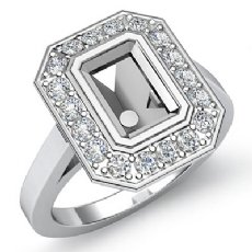 0.3Ct Halo Setting Diamond Engagement Emerald Cut Semi Mount Ring 14K White Gold