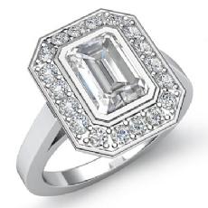 Halo Bezel Setting Pave Emerald diamond engagement Ring in 14k Gold White