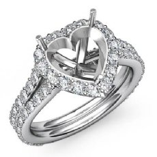 1.29Ct Diamond Engagement Ring Halo Setting 14K White Gold Heart Cut Semi Mount
