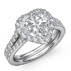Split Shank Halo Pave Set Heart diamond engagement Ring in 14k Gold White