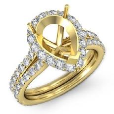 Pear Shape Semi Mount Diamond Engagement Ring 14k Gold Yellow Halo Setting (1.3Ct. tw.)