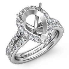 1.30Ct Pear Shape Semi Mount Diamond Engagement Ring 14K White Gold Halo Setting