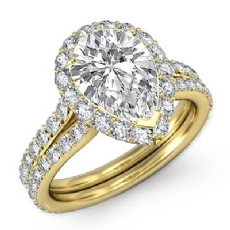 Halo Pave Set Split Shank Pear diamond engagement Ring in 18k Gold Yellow