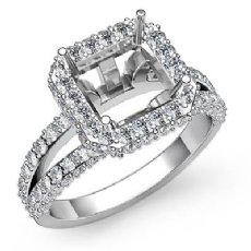 1.53 Ct Diamond Engagement Halo Setting Ring Asscher Semi Mount 14K White Gold