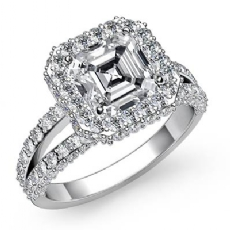 Circa Halo Pave Sidestone Asscher diamond engagement Ring in 14k Gold White