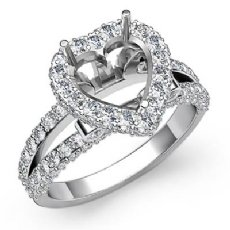 1.55 Ct Diamond Engagement Heart Cut Ring 14K White Gold Halo Setting Semi Mount