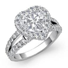 Circa Halo Bezel Split Shank Heart diamond engagement Ring in 14k Gold White