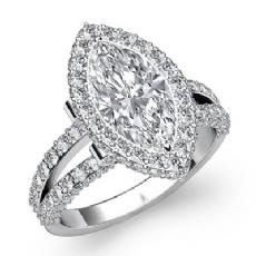 Split Shank Circa Halo Marquise diamond engagement Ring in 14k Gold White