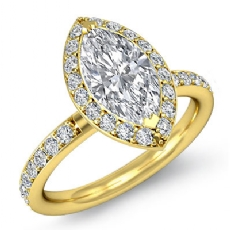 Basket Halo Sidestone Marquise diamond engagement Ring in 18k Gold Yellow