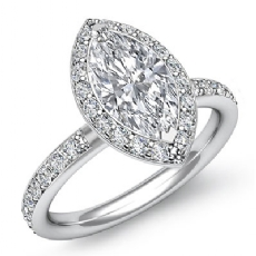 Basket Halo Sidestone Marquise diamond engagement Ring in 14k Gold White