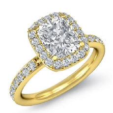 Basket Halo Sidestone Cushion diamond engagement Ring in 14k Gold Yellow