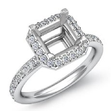 0.36Ct Diamond Engagement Ring 14k White Gold Asscher Semi Mount Halo Setting