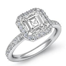 Halo Pave Setting Basket Asscher diamond engagement Ring in 14k Gold White