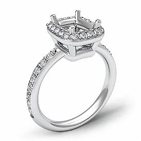 0.36Ct Diamond Engagement Ring Cushion Semi Mount Halo Setting 14k White Gold