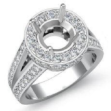 2Ct Diamond Engagement Round Vintage Ring 14K White Gold Halo Setting Semi Mount