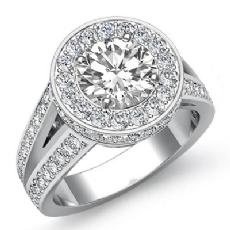 Circa Halo Pave Split Shank Round diamond engagement Ring in 14k Gold White