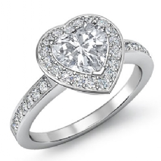 4 Prong Halo With Sidestone Heart diamond engagement Ring in 14k Gold White