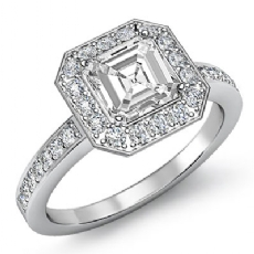 4 Prong Halo With Sidestone Asscher diamond engagement Ring in 14k Gold White