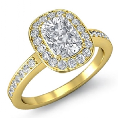 4 Prong Halo With Sidestone Cushion diamond engagement Ring in 14k Gold Yellow