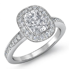 4 Prong Halo With Sidestone Cushion diamond engagement Ring in 14k Gold White