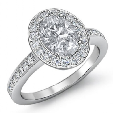 4 Prong Halo With Sidestone Oval diamond engagement Ring in 14k Gold White