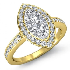 4 Prong Halo With Sidestone Marquise diamond engagement Ring in 14k Gold Yellow