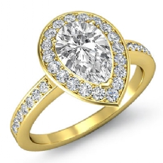 4 Prong Halo With Sidestone Pear diamond engagement Ring in 18k Gold Yellow