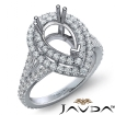 French V Cut Pave Diamond Engagement Ring Pear Semi Mount 14k White Gold 1.3Ct - javda.com