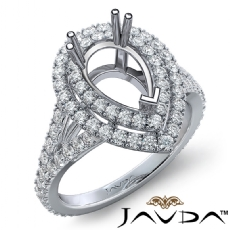 French V Cut Pave Diamond Engagement Ring Pear Semi Mount 18k Gold White  (1.3Ct. tw.)