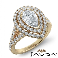 French V Pave Halo Split Shank diamond Ring 14k Gold Yellow