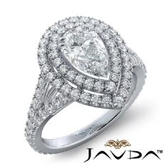 French V Pave Halo Split Shank Pear diamond engagement Ring in 14k Gold White