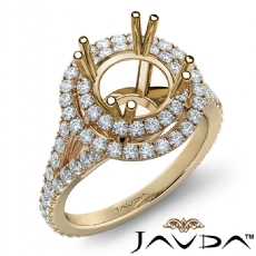 Round Semi Mount French V Cut Pave Diamond Engagement Ring 14k Gold Yellow  (1.3Ct. tw.)