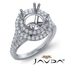 Round Semi Mount French V Cut Pave Diamond Engagement Ring 14k White Gold 1.30Ct