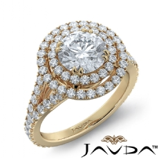 Double Halo French-Set Pave diamond Ring 14k Gold Yellow
