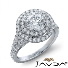Double Halo French-Set Pave Round diamond engagement Ring in 14k Gold White