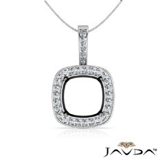 Halo Pave Round Cut Semi Mount Diamond Bail Pendant 14k White Gold
