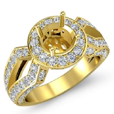 Diamond Engagement Halo Pave Setting Ring Round Semi Mount 18k Gold Yellow (1.42Ct. tw.)