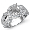 1.42Ct Diamond Engagement Halo Pave Setting Ring Round Semi Mount 14k White Gold - javda.com