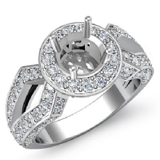 1.42Ct Diamond Engagement Halo Pave Setting Ring Round Semi Mount 14K White Gold