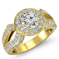 Split Shank Pave Set Halo Round diamond engagement Ring in 18k Gold Yellow
