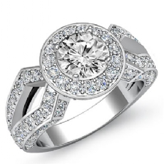 Split Shank Pave Set Halo Round diamond engagement Ring in 14k Gold White