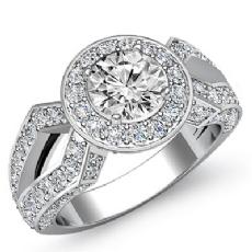 Split Shank Pave Set Halo Round diamond engagement Ring in Platinum 950