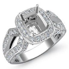 1.44 Ct Halo Setting Diamond Engagement Cushion Semi Mount Ring 14K White Gold