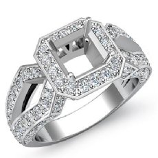 1.36 Ct Diamond Engagement Ring Asscher Semi Mount 14K White Gold Halo Setting