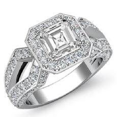 Halo Sidestone Split Shank Asscher diamond engagement Ring in 14k Gold White