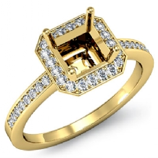 Diamond Engagement Ring Halo Setting 18k Gold Yellow Asscher Shape Semi Mount (1Ct. tw.)