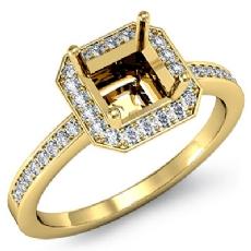 Diamond Engagement Ring Halo Setting 14k Gold Yellow Asscher Shape Semi Mount (1Ct. tw.)