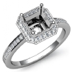 1Ct Diamond Engagement Ring Halo Setting 14k White Gold Asscher Shape Semi Mount - javda.com