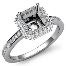 1Ct Diamond Engagement Ring Halo Setting 14k White Gold Asscher Shape Semi Mount