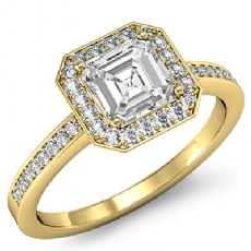 Halo Sidestone Pave Set Asscher diamond engagement Ring in 18k Gold Yellow